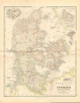 1874 ca LARGE ANTIQUE MAP- SWANSTON - DENMARK WITH SCHLESWIG & HOLSTEIN