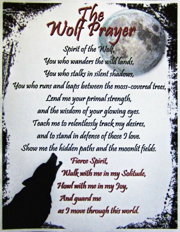 Wolf Prayer Parchment Poster Page Wicca Witch New Age Pentagram Occult Pagan