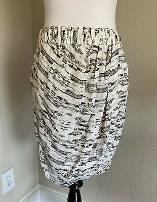 New! $229 House of Dagmar White & Grey Printed Bubble Lali Skirt Size 40 (US 10)