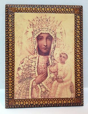 Vintage 80s Religious Icon Decoupage on Wood-BLACK MADONNA Signed Poland 1987