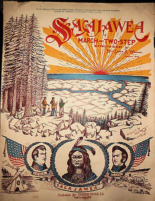 RARE Sacajawea March Two Step Sheet Music, Laura Warner, Portland, OR, Graphics!