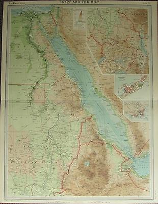 1922 LARGE ANTIQUE MAP ~ EGYPT & THE NILE UGANDA ~ TOWN PLAN ADEN ALEXANDRIA