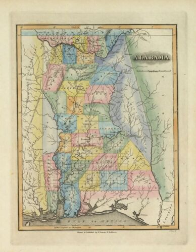 1823 ALABAMA map poster Lucas GENEALOGY state history 4584065