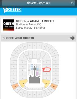 Queen & Adam Lambert Concert Tickets x 2 (seated, Melbourne)