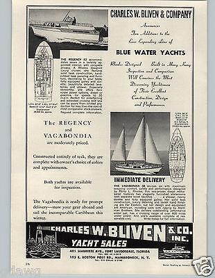 1963 Letterhead AD Charles W Bliven Blue Water Yacht Sales Regency Vegabondia