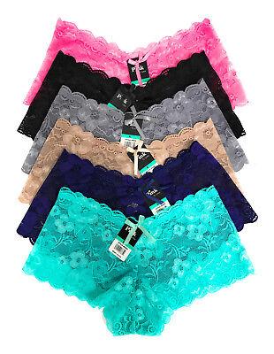 Lace Cheeky Boyshorts Panties - Pack Lot 6 or 12 Women Boxer Cheeky Lace Boyshorts Panty Underwear S M L XL