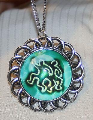 Gemini Twins Symbol (Handsome Loop Rim Blue White Gemini Twins Zodiac Symbol Silvertn Cameo Necklace )