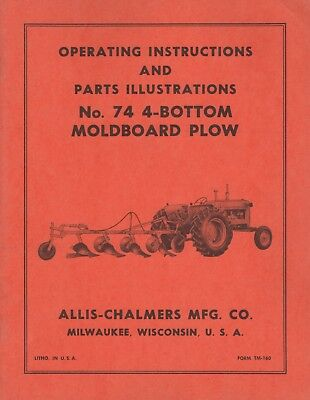 Allis-chalmers No. 74 4-bottom Moldboard Plow Operators Parts Manual 073