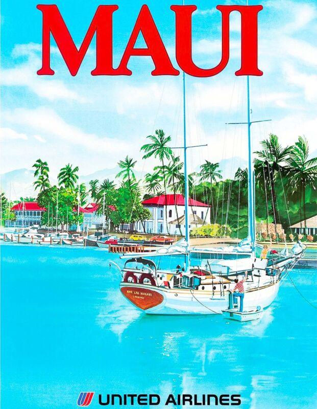1960s Maui Hawaii Hawaiian Beach United States Travel Advertisement Art Poster 2