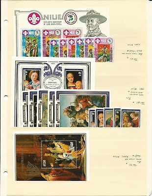 Niue Collection 1977-1983 Mint NH Sets & Sheets on 7 Stock Sheets