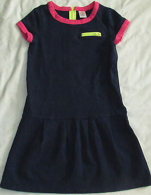 Gymboree Bright Ideas navy blue pink yellow dress 10