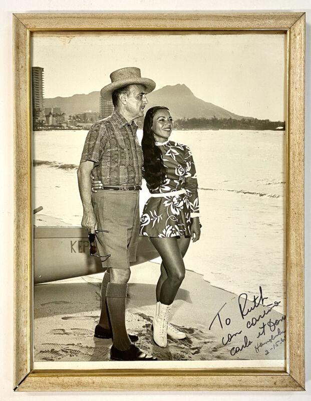 Don the Beachcomber Donn & Carla Beach Waikiki Hawaii 1965 Signed Photo Framed