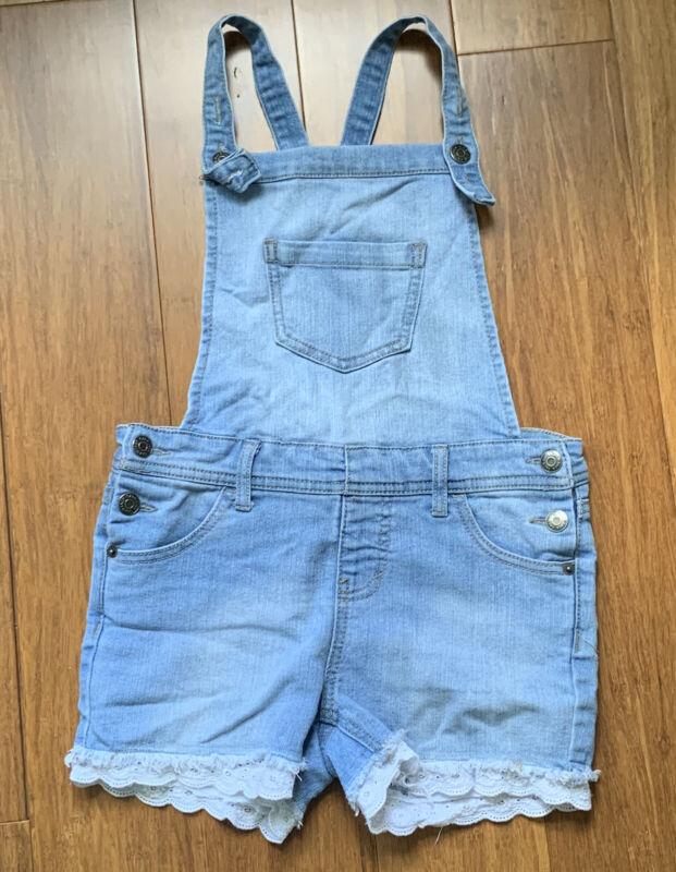 Girls Cat & Jack Blue Denim Shortall Shorts Eyelet Lace Hem Trim~Overalls~Size M