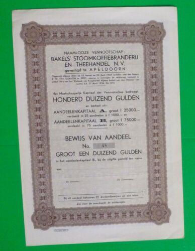 Netherlands  Coffee & Tea Trade  Stock Certificate 1000 Gulden  1934
