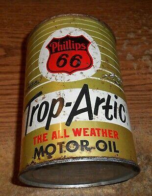 VINTAGE PHILLIPS 66 TROP-ARTIC MOTOR OIL ONE QUART CAN/TOUGH!