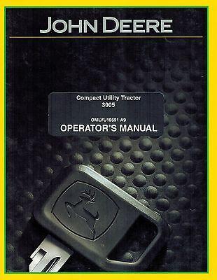 John Deere 3005 Compact Utility Tractor Operators Manual New