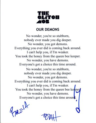 "The Glitch Mob Signed Autographed ""Our Demons"" Lyric Sheet COA VD"
