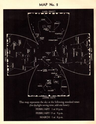 1942 STAR & CONSTELLATION Map Antique ASTRONOMY Print Astrology Signs 4329