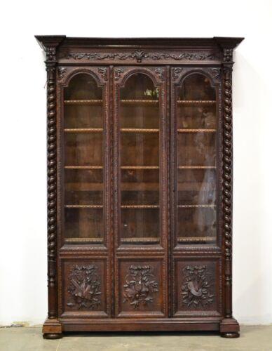 Large Antique French Renaissance Barley Twist Bookcase 3 Doors