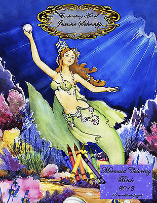 Mermaid 2012 Coloring Book 8x11 Fairy Fantasy 10 pages crayon & paint  SCHEMPP