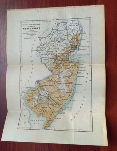 1896 Survey Map of New Jersey if Land was Submerged 100 Feet