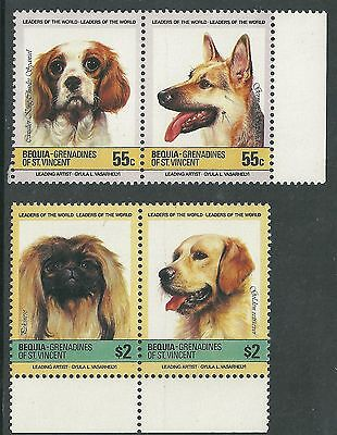 St Vincent Grenadines -BEQUIA MNH SC#180 dogs, scott # 181 dogs 2 pairs stamp
