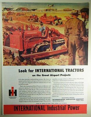 Vintage 1945 INTERNATIONAL HARVESTER Lg Magazine Print Ad: AIRPORT CONSTRUCTION