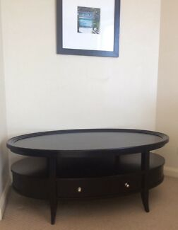 Xavier Oval Coffee Table wood timber ebony