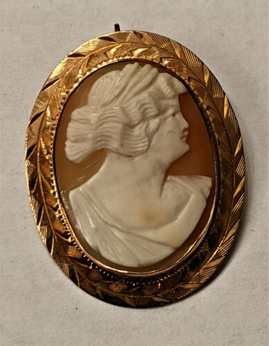 Vintage 10k Gold Hand Carved Shell Cameo Pin / Brooch 👀 4.9 GR.