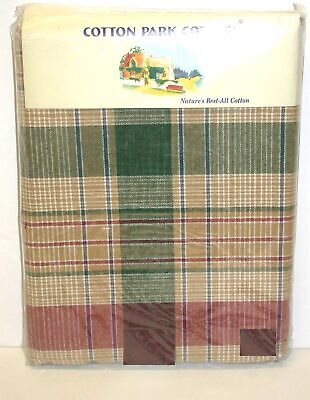 """Cotton Park Cottage Tablecloth ~ Green Gold Plaid ~ 70"""" Round **NEW**"""