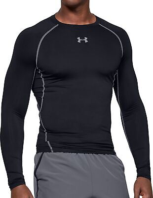 Under Armour HeatGear Mens Compression Top Black Long Sleeve Base Layer UPF30+