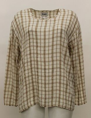 FLAX FALL RAYON CRINKLED LONG SLEEVED T-SHIRT PULLOVER TOP WINTER CREAM PLAID -