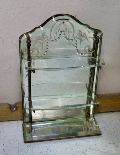 Vintage Continental Open Mirrored Curio Wall Shelf