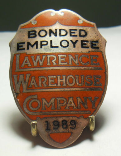 👮 Vtg. & Obsolete LAWRENCE WAREHOUSE Co. Employee Security pin Badge #1989