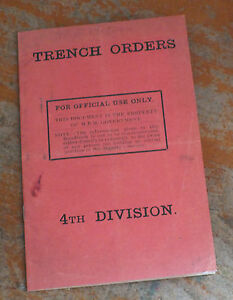 World War One Trench Orders Book WW1 1914 1918 BEF British Army 4th Division bn