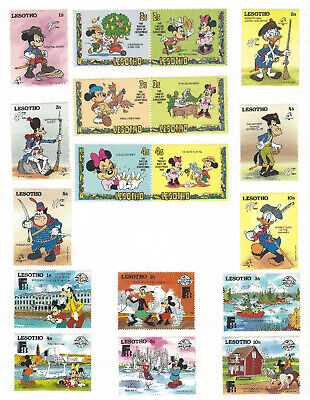 LESOTHO DISNEY MH STAMP LOT ON PAGE, MICKEY MOUSE, MINNIE, DONALD DUCK, GOOFY