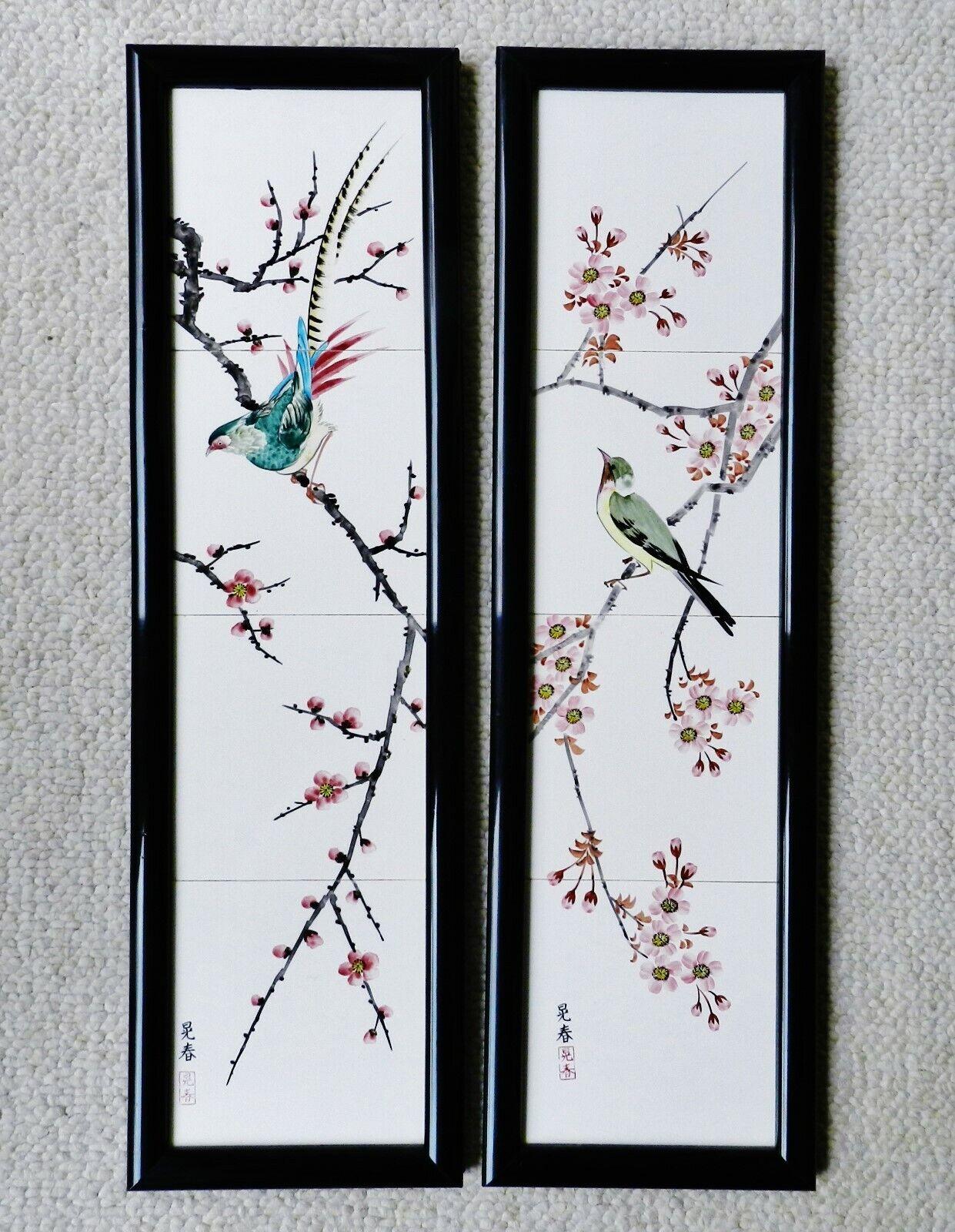 c1920 Japanese Pair Porcelain 4-Panel Plaque Paintings Signed 晃春 Koharu Antique