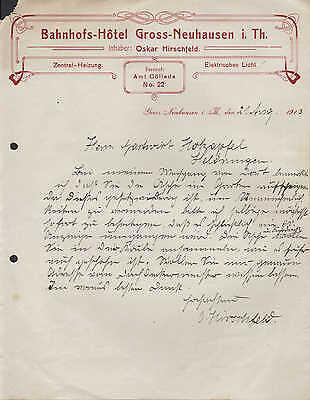 GROSS-NEUHAUSEN/THÜR., Brief 1913, Bahnhofs-Hotel, Inh.: Oskar Hirschfeld