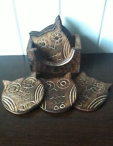 VINTAGE 6 WOODEN OWL COASTERS WITH BOX IDEAL COASTER  SET FOR COFFEE TEA DRINKS