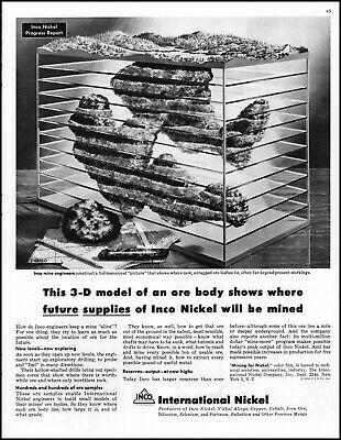 1956 3-D model Inco Nickel mine iron ore deposits vintage art print ad L68