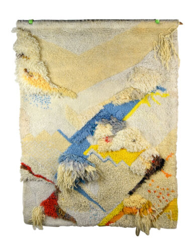Vintage Mid-Century Modern Abstract Fiber Art Latch Hook Wall Hanging Tapestry