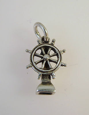 .925 Sterling Silver 3-D CAPTAINS WHEEL w Stand CHARM NEW Pendant Sail 925 NT34 Captains Wheel Charm