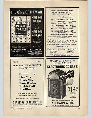 1947 PAPER AD Toy Electronic Juke Box Bank E J Kahn & Co It's Fun To Save Keno