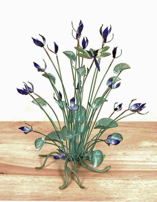 SCULPTURES -  DRAGONFLY AMIDST BLUE FLOWERS METAL TABLETOP SCULPTURE