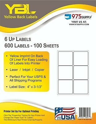 Ybl 6up Yellow Imprinted Labels For Shipping. 4 X 3 516. 1 Pack 600 Labels