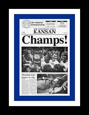 Kansas Jayhawks Mat - KANSAS JAYHAWKS 1988 NCAA NATIONAL CHAMPIONS MATTED PIC OF NEWSPAPER FRONT PAGE