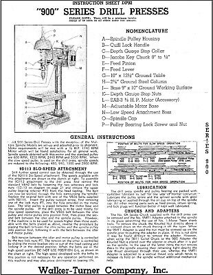 Walker Turner 900 Series Drill Press Operator Instructions Parts Manual