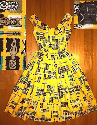 Vtg 50s ALFRED SHAHEEN Atomic Bombshell Rockabilly Dress Metallic Tiki Gods RARE