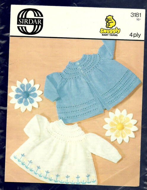 Vintage Sirdar pattern 3181 for baby's angel tops in 4-ply yarn; 41cm; 16ins