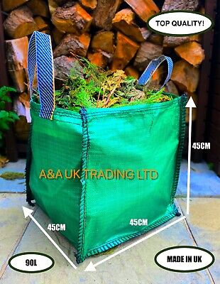 ✅ 30 x Garden Grass Leaves Waste Bag 90l Refuse Strong Heavy Duty Green Sack